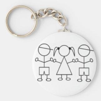 stick kids keychain triplet boy boy girl