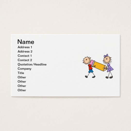 Stick Kids With Pencil Business Card