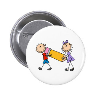 Stick Kids With Pencil Pinback Buttons