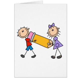 Stick Kids With Pencil Card