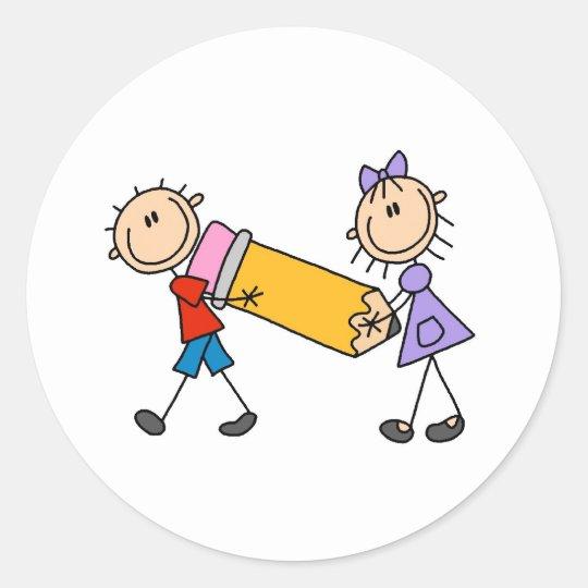Stick Kids With Pencil Classic Round Sticker