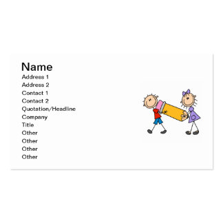 Stick Kids With Pencil Double-Sided Standard Business Cards (Pack Of 100)