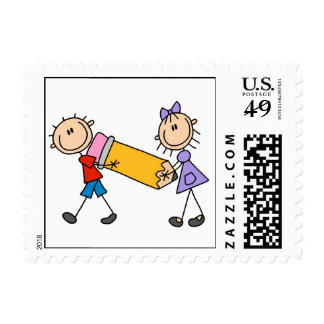 Stick Kids With Pencil Postage