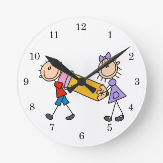 Stick Kids With Pencil Round Clock
