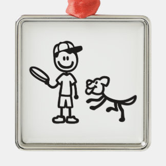 Stick Man and Dog playing Frisbee Metal Ornament