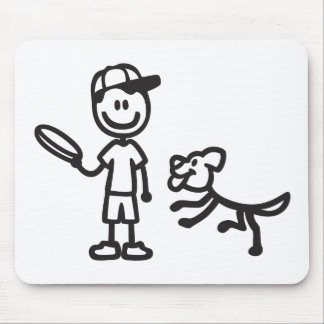 Stick Man and Dog playing Frisbee Mouse Pad