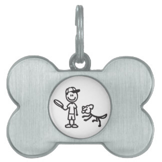 Stick Man and Dog playing Frisbee Pet ID Tags
