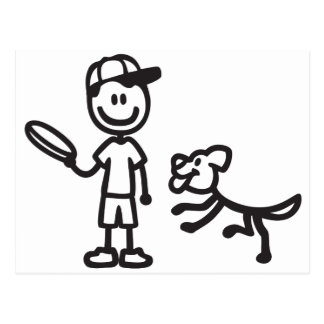 Stick Man and Dog playing Frisbee Post Card