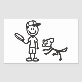 Stick Man and Dog playing Frisbee Rectangular Sticker
