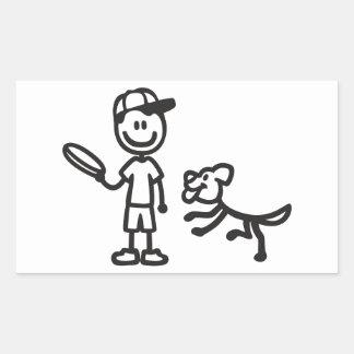 Stick Man and Dog playing Frisbee Rectangular Sticker
