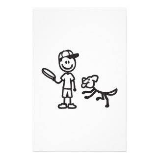 Stick Man and Dog playing Frisbee Stationery