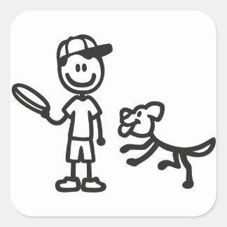 Stick Man and Dog playing Frisbee Sticker