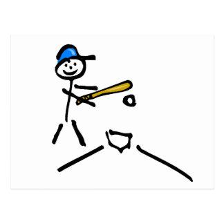 Stick Man Baseball Postcard