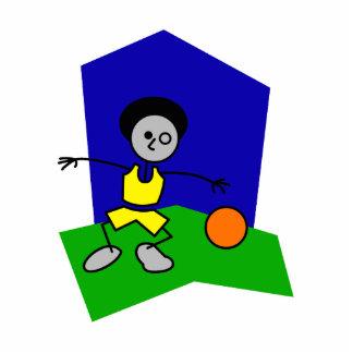 Stick man dribbles basketball photo sculpture