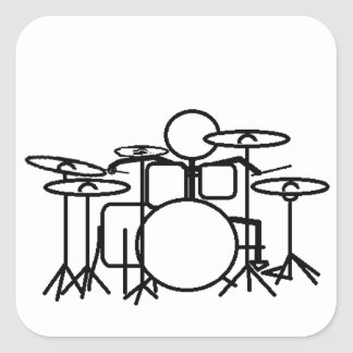 Stick man Drummer Square Sticker
