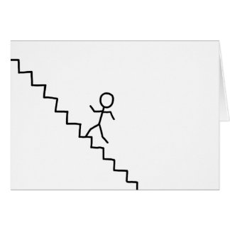 Stick man going up the stairs greeting card