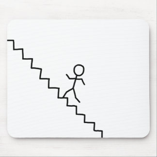 Stick man going up the stairs mousepad