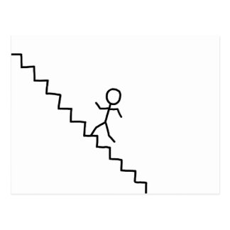 Stick man going up the stairs postcard