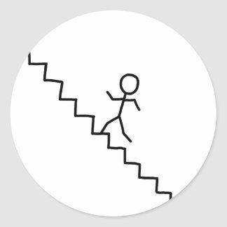 Stick man going up the stairs sticker