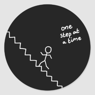 "Stick man on the stairs ""one step..."" sticker"