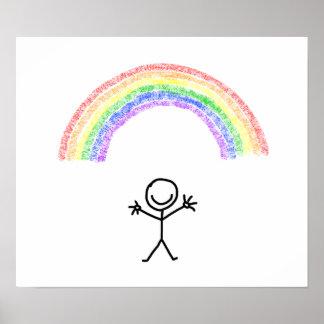 Stick man under a rainbow poster