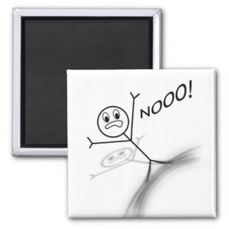 Stick Man Wipeout 2 Inch Square Magnet