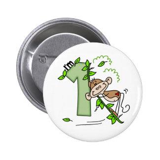 Stick Monkey Swing 1st Birthday Button