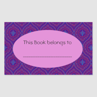 Stick-on Bookplates: Purple and Blue Ogee Pattern Rectangular Sticker