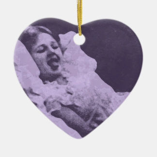 Stick out your tongue Double-Sided heart ceramic christmas ornament