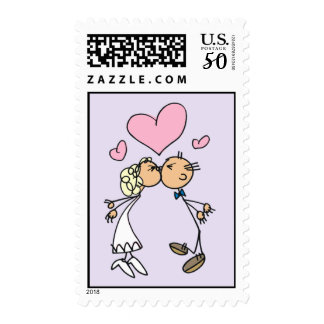 Stick People Bride and Groom Kiss Postage