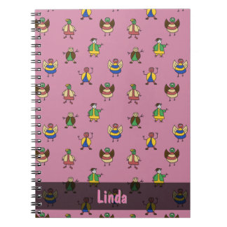 Stick People Children Pattern Girl any Name Notebook
