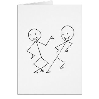 Stick People Dancing Card