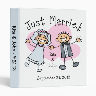 Stick People Just Married 3 Ring Binder