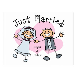 Stick People Just Married Postcard