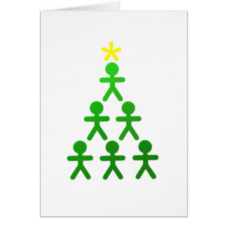 Stick People Xmas Tree Card