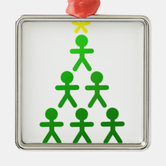 Stick People Xmas Tree.png Metal Ornament