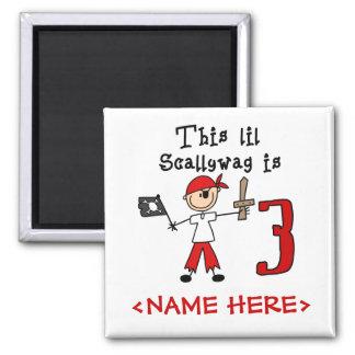 Stick Pirate 3rd Birthday 2 Inch Square Magnet