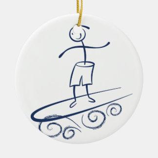 Stick Surfer Ceramic Ornament