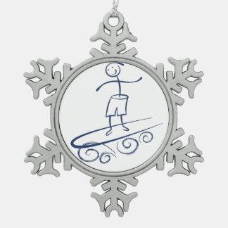 Stick Surfer Snowflake Pewter Christmas Ornament