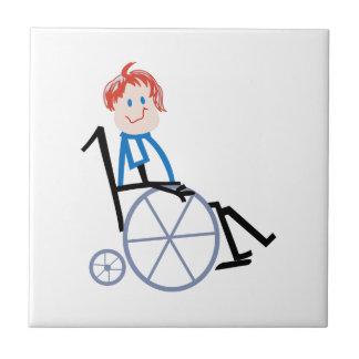 Stick Wheelchair Kid Ceramic Tile
