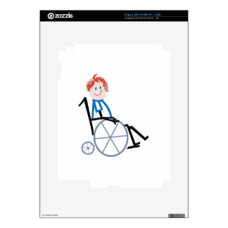 Stick Wheelchair Kid Decal For iPad 2