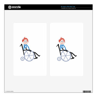 Stick Wheelchair Kid Kindle Fire Decals