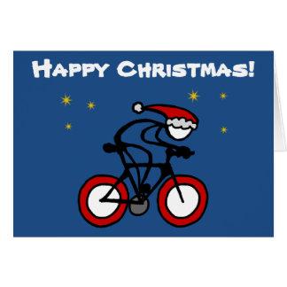 Stick-With-Sport Christmas Santa Cyclist Customize Card