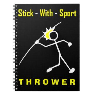 Stick With Sport Javelin Thrower BlackGold Notepad Spiral Notebook