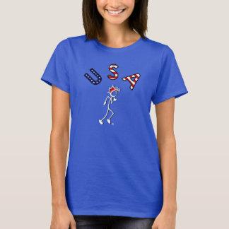 Stick With Sport USA Runner dark RED WHITE BLUE T-Shirt