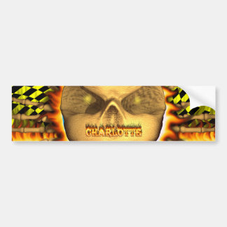 Sticke del fuego real del cráneo de Charlotte y de Etiqueta De Parachoque