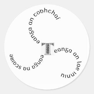 Sticker1 teanga x3 etiqueta redonda