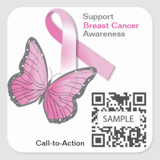 Sticker2 Template Breast Cancer Awareness *Test* Square Sticker