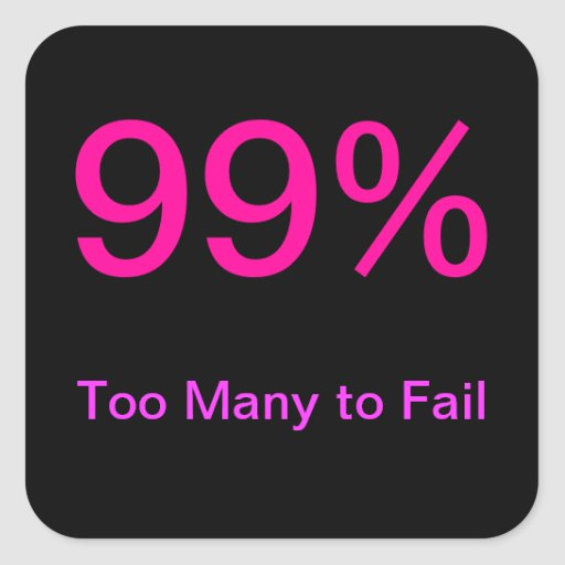 Sticker: 99%: Too Many to Fail (Occupy Wall Street Square Sticker