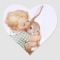 Sticker Antique Adorable Easter Bunny hugs